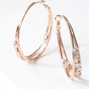 Chloe + Isabel Rose Gold Anniversary Hoop Earrings